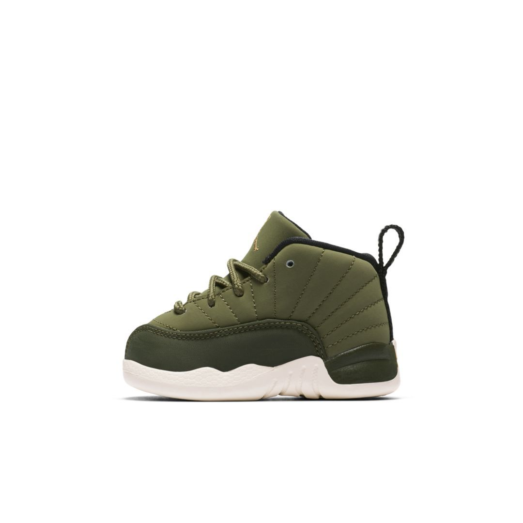 37056cd034b Air Jordan Retro 12 (2c-10c) Infant Toddler Shoe Size 3C (Olive Canvas)