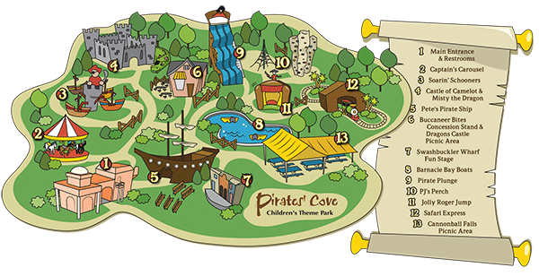 Pc Map Attractions Png Pirates Cove Theme Park Kids Attractions
