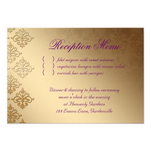 Wedding reception card indian damask purple gold invite indian wedding reception card indian damask purple gold invite from zazzle reception card templates danielle violet do it yourself reception solutioingenieria Images