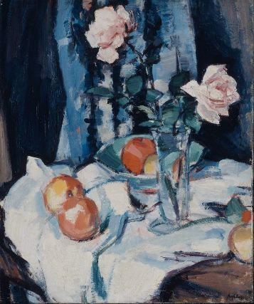 "Samuel John Peploe's ""Still Life with Roses in a Glass Vase."" Museum of Fine…"