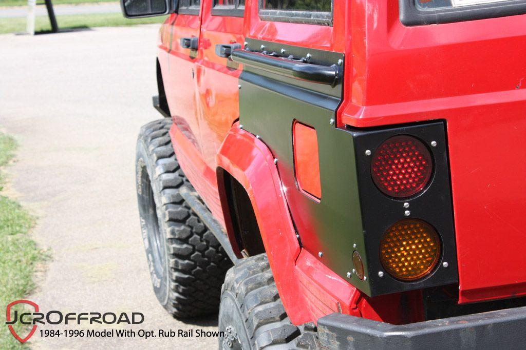jcroffroad rear upper quarter panel guards wtail light cutouts xj cherokee