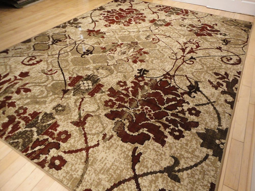 Modern Rug Contemporary Area Rugs Burgundy 8x10 Abstract Carpet 5x7 Flower
