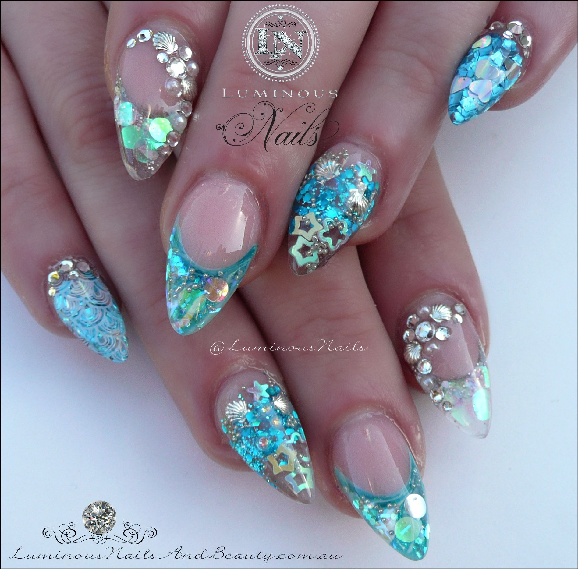 Blue glitter ombr 233 stiletto nails - Sculptured Acrylic With Glitter Heaven Heart Of The Ocean Glitter Silver Fine Chunky Blazin Nails Rapids Glit