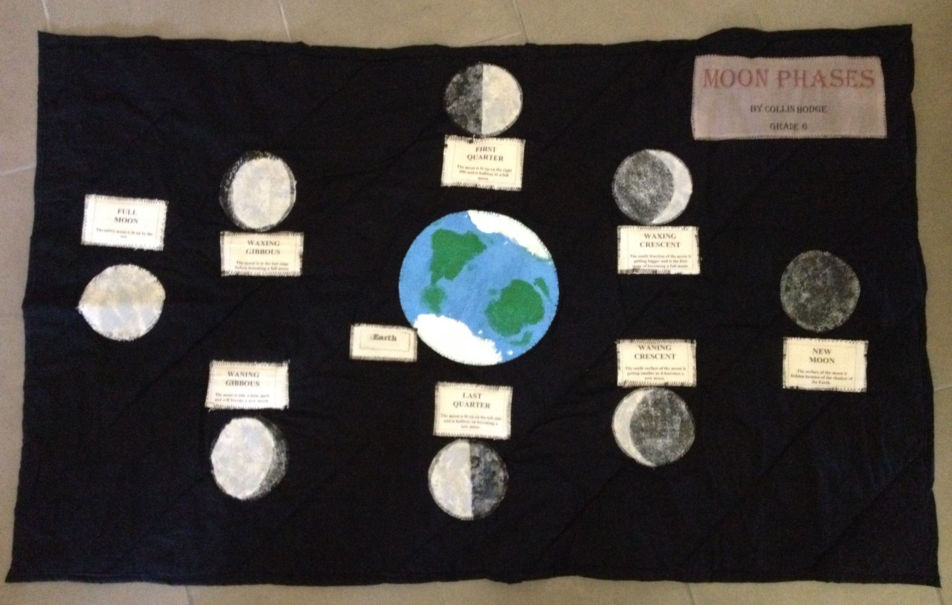 Moon Phases quilt made by my son for a science project.