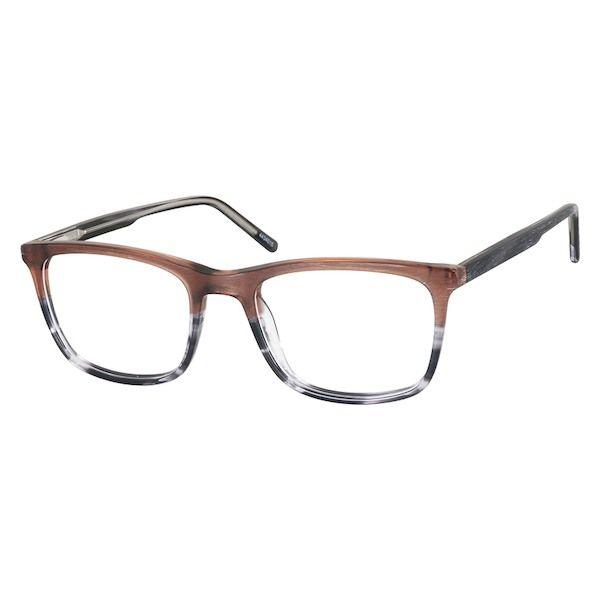 4a61ac7229 Zenni Rectangle Prescription Eyeglasses Brown Woodgrain Plastic 4434015