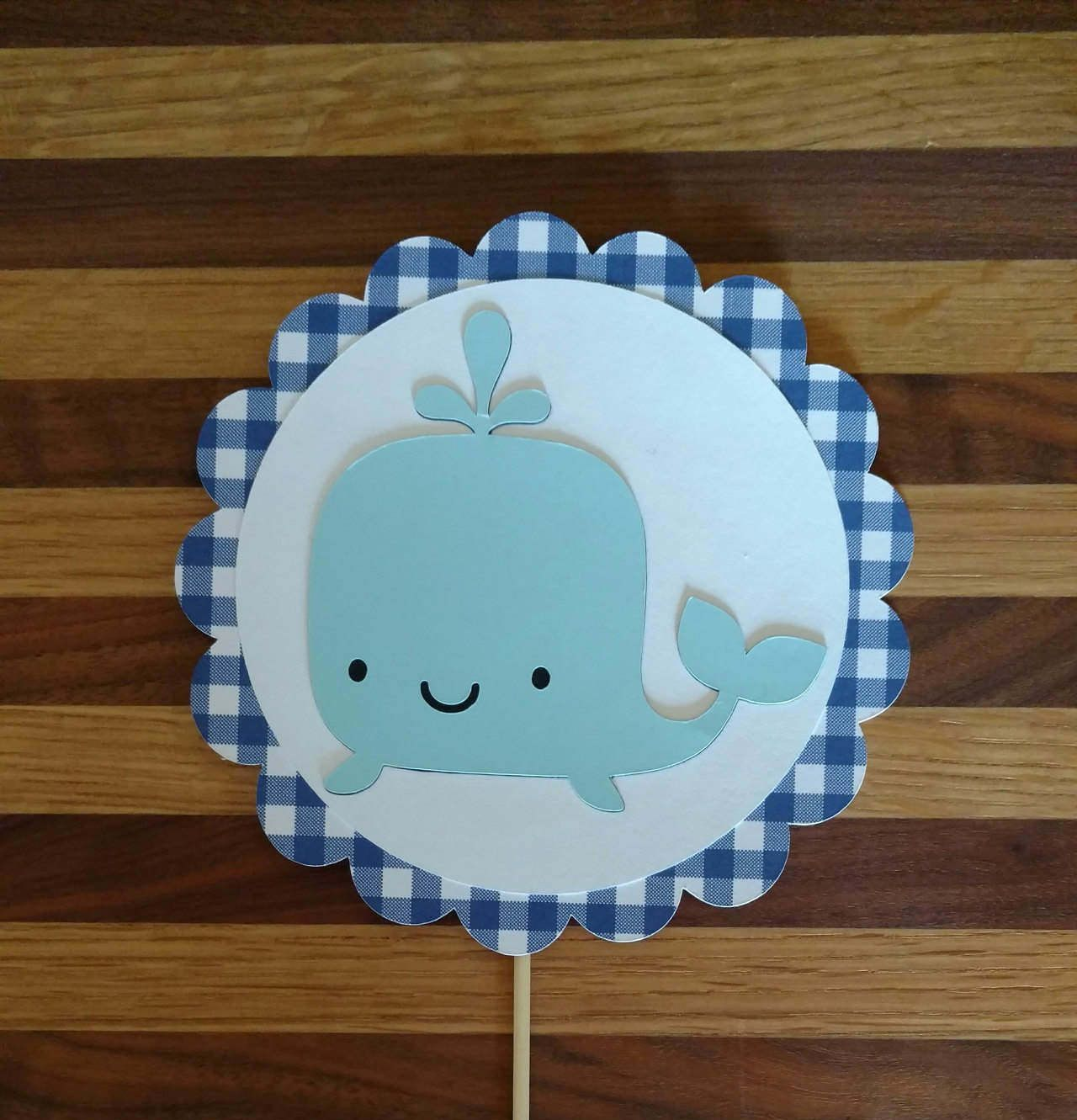Gingham Blue Whale Cake Topper, whale topper, whale cake ...