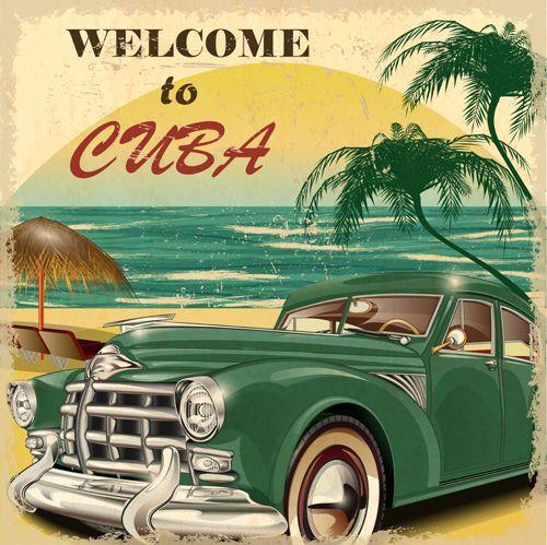 Vintage Car Shower Curtain Havana Cuba Poster 1950s Nostalgic Retro Curtian,
