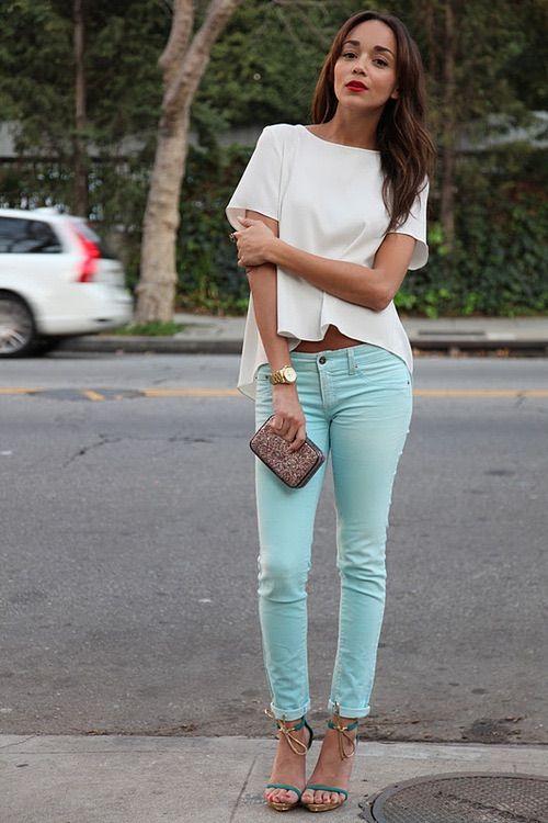 Image via We Heart It #actress #blog #darkhair #fashion #outfit #pastell #redlips #style #stylish #tan #watch #white #whiteshirt #goldwatch #ashleymadekwe #ringmybell #pastellpants
