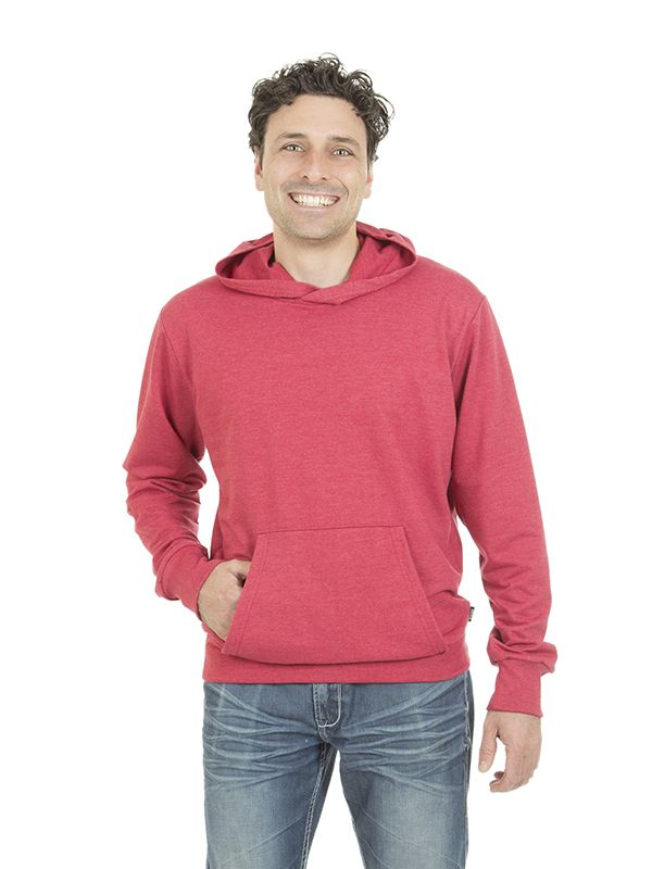 Style #500 - Men's Hooded Sweater - French Terry  50% Organic Cotton / 50% Recycled Polyester– 10oz Available in Heather Navy – Heather Black – Heather Red – Heather Grey