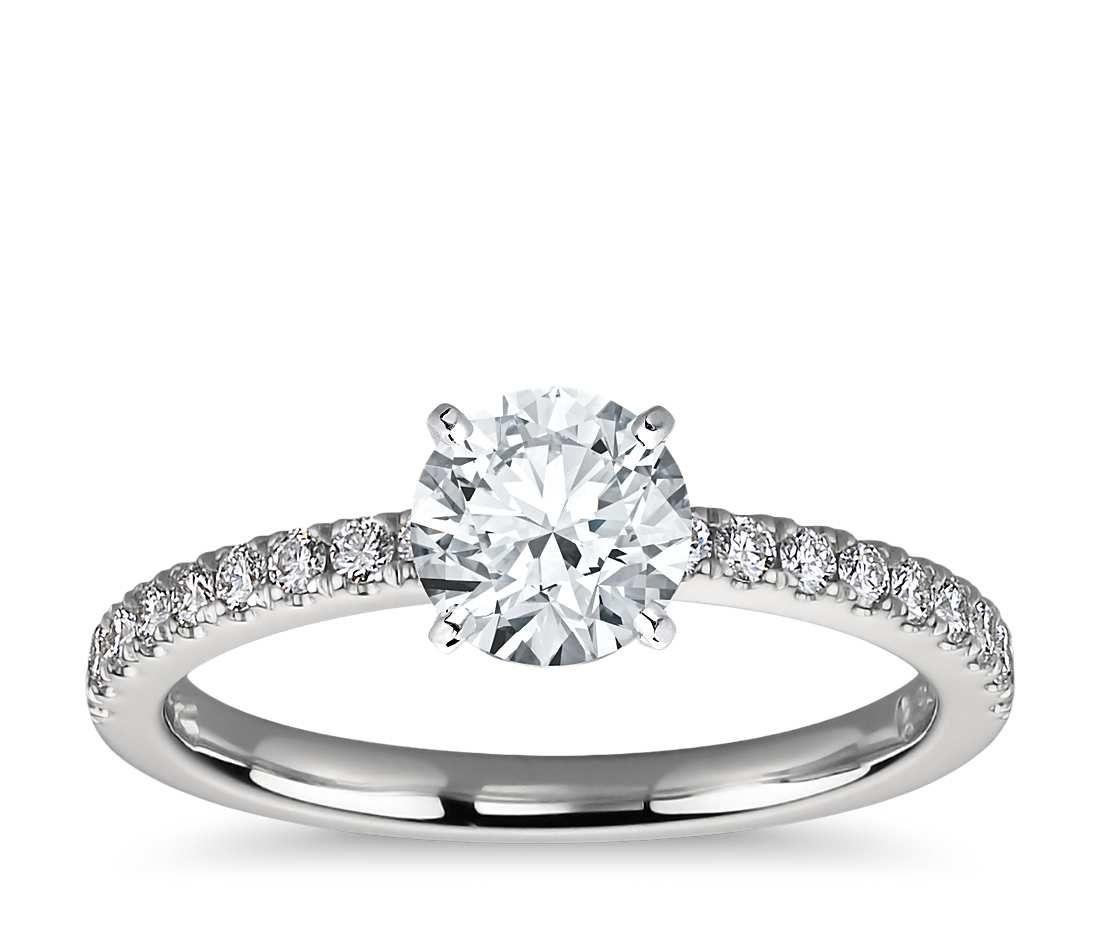 Petite Pav Diamond Engagement Ring Platinum 14 ct tw 100