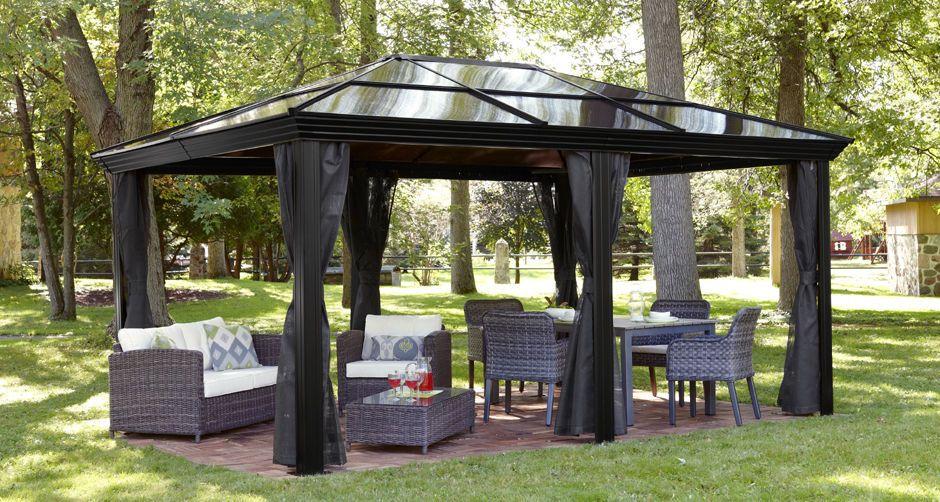 12x16 Hardtop Metal Gazebo Rust Proof Aluminum Sun Shelter Mosquito Net Patio Sojag Gazebo Plans Gazebo Gazebo With Fire Pit