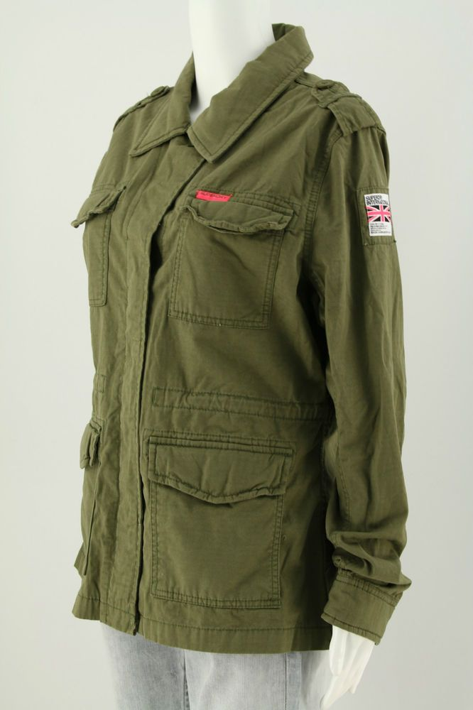 Superdry Thin Jacket Women s Dammen Army style Military Green Coat Shirt   Superdry 6619d717a9