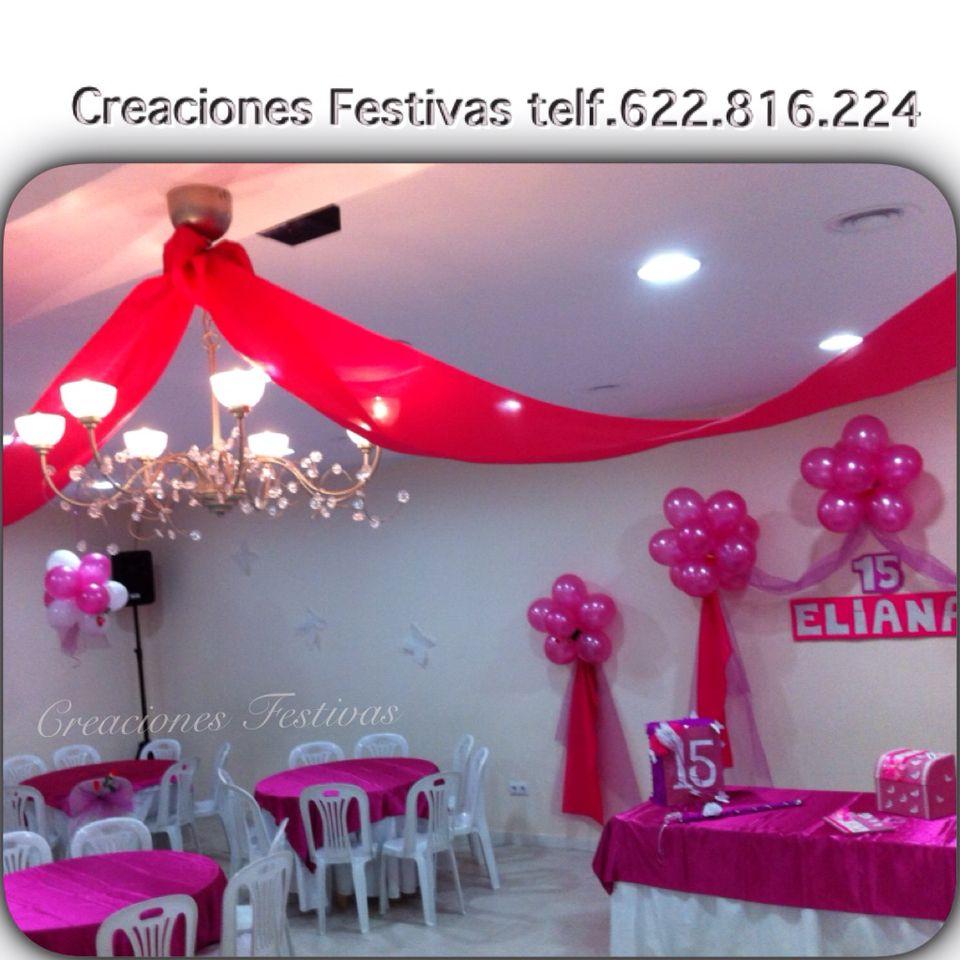 Decoraci n 15 a os en fucsia decoraci n con globos y telas for Decoracion de 15 anos con globos