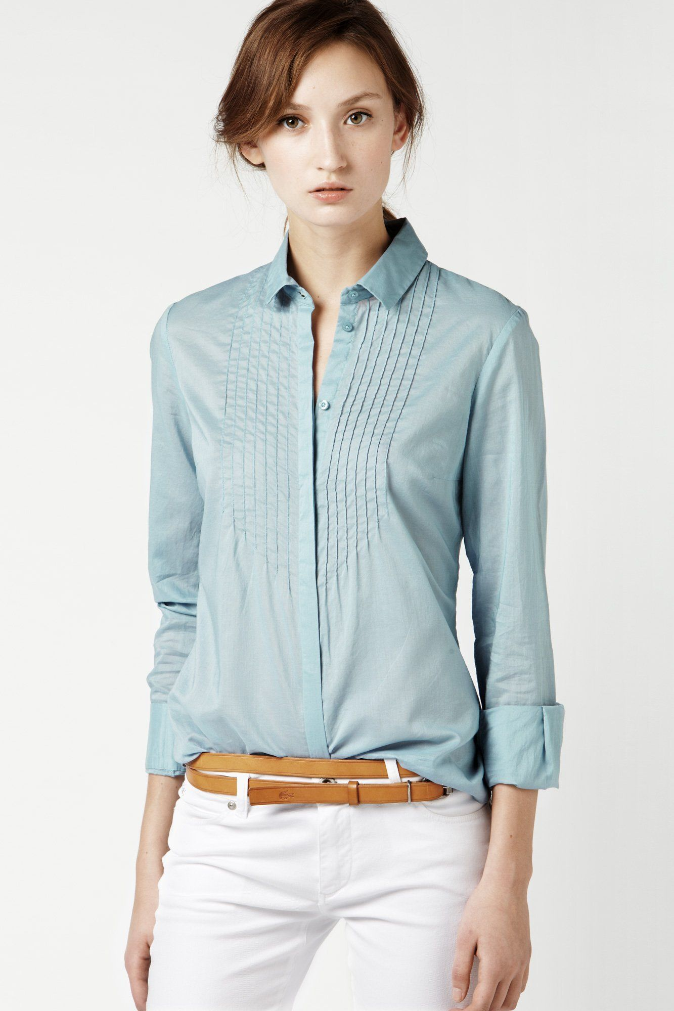 Lacoste Long Sleeve Voile Pleated Woven Shirt : Tops & Tees