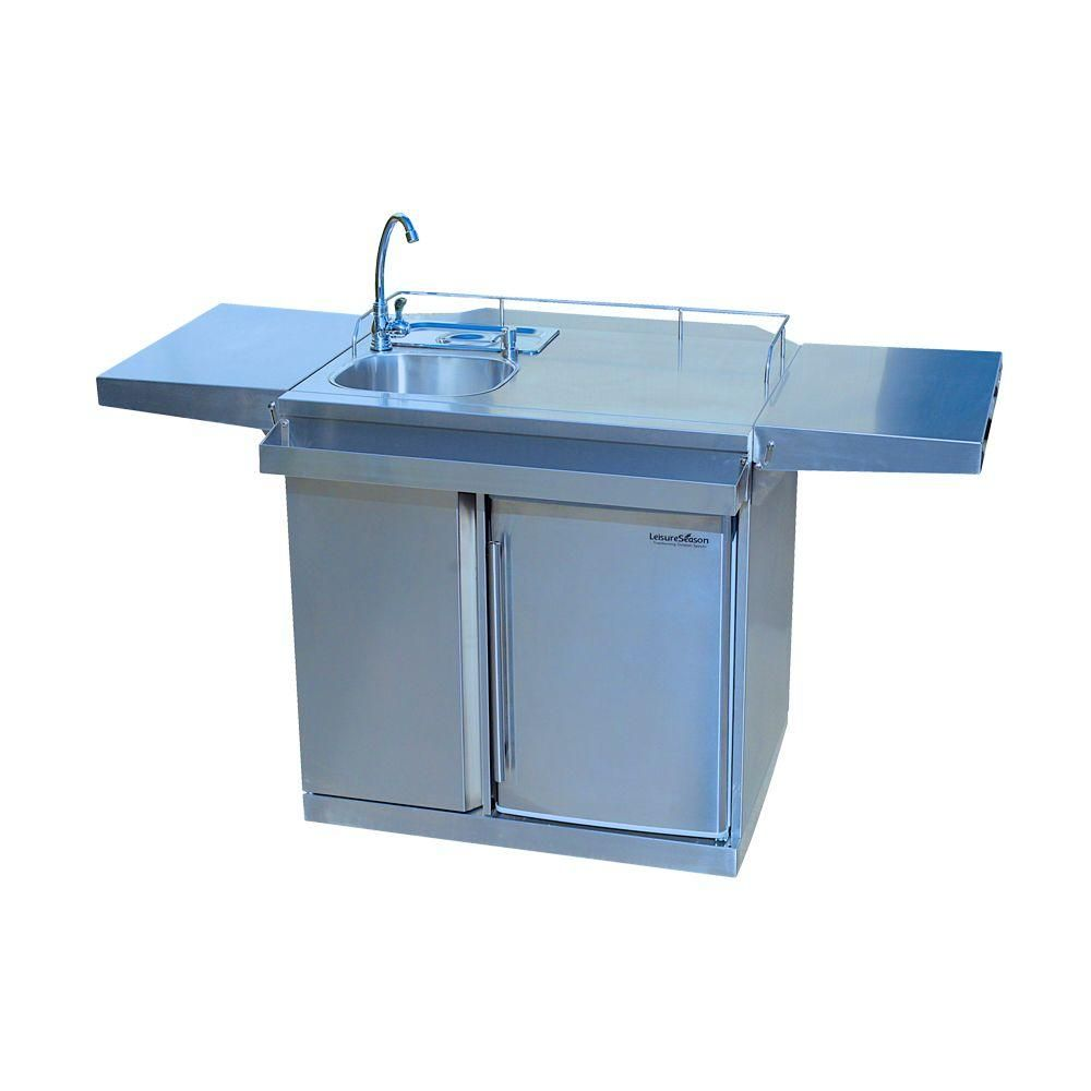 Leisure Season 62 in. Stainless Steel (Silver) Outdoor Kitchen Cart ...