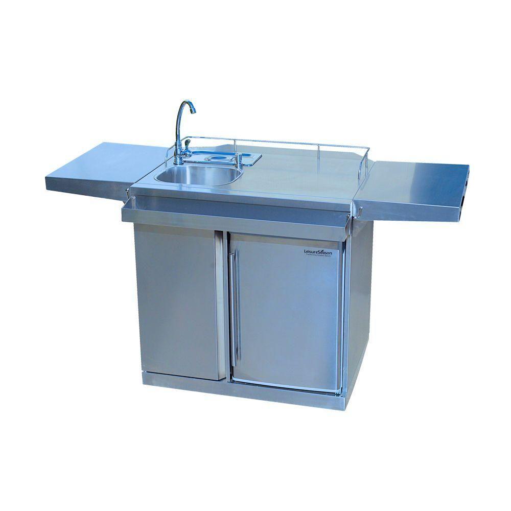 outdoor kitchen storage cart dish rack leisure season 62 in stainless steel and beverage center with fridge sink