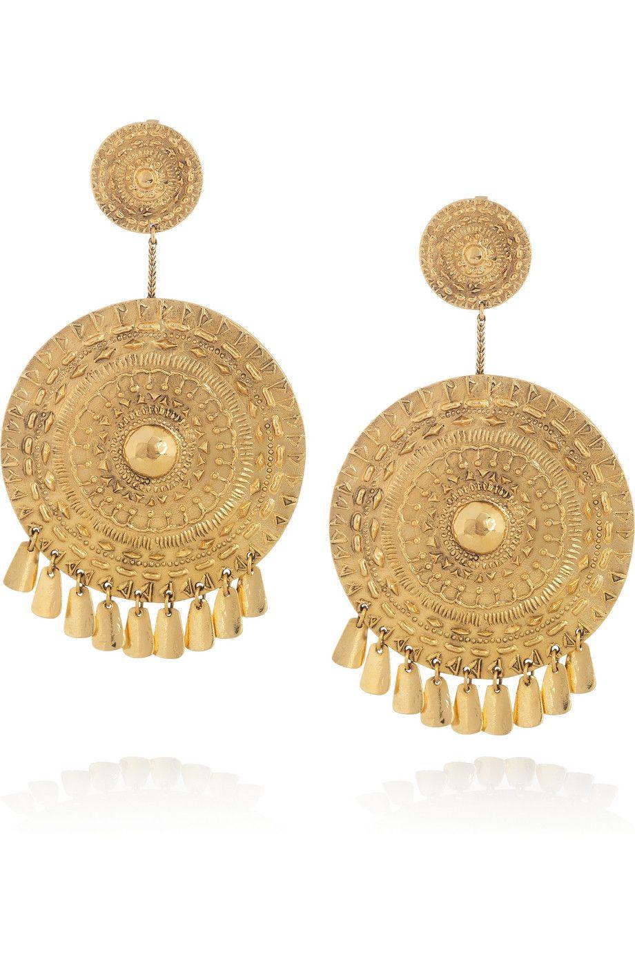 Aurélie Bidermann Pachacamac 18 Karat Gold Plated Medallion Clip Earrings Net