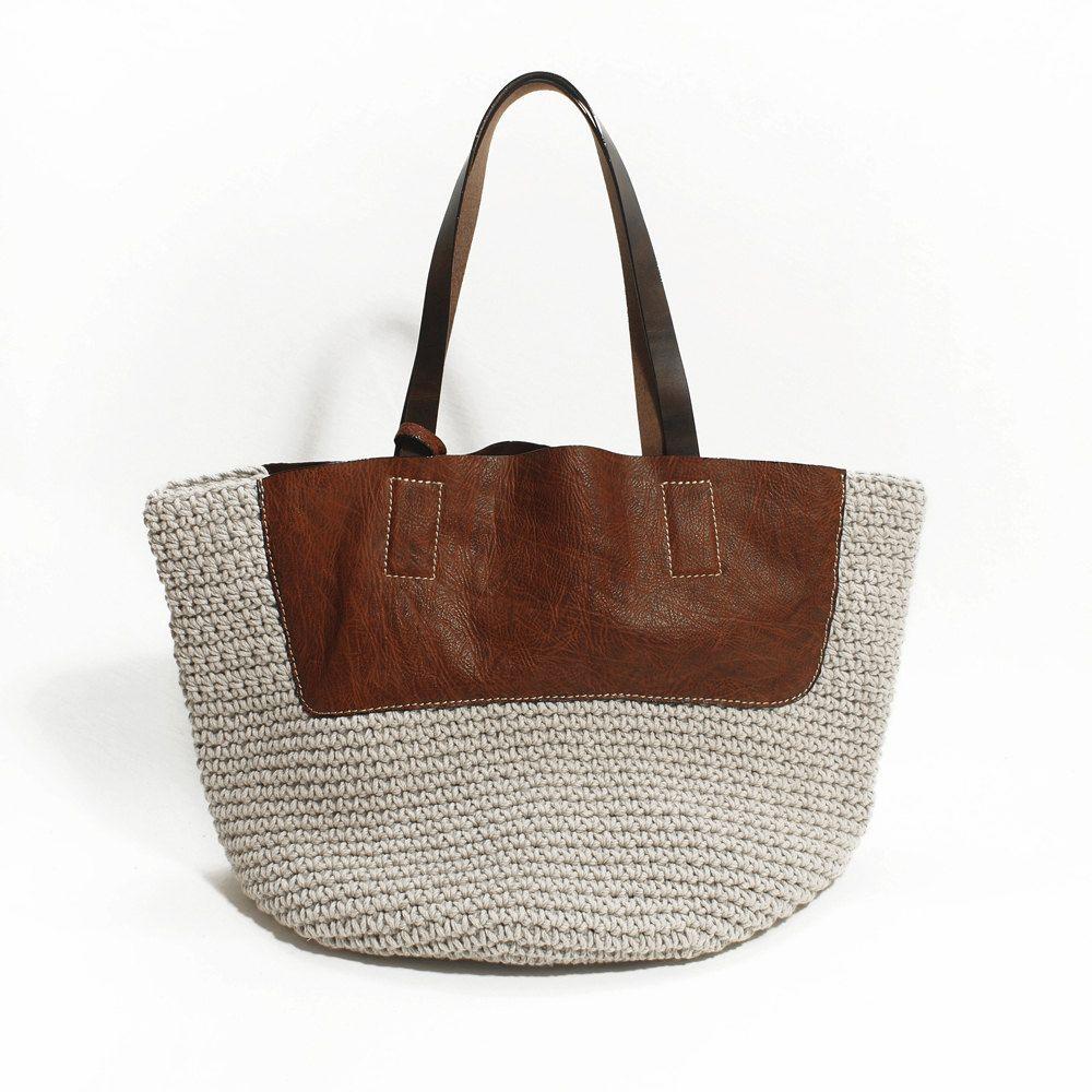 Knitting Genuine Leather Bag, Handmade Purse, Shoulder Bag Shopping Bag. $116.00, via Etsy.