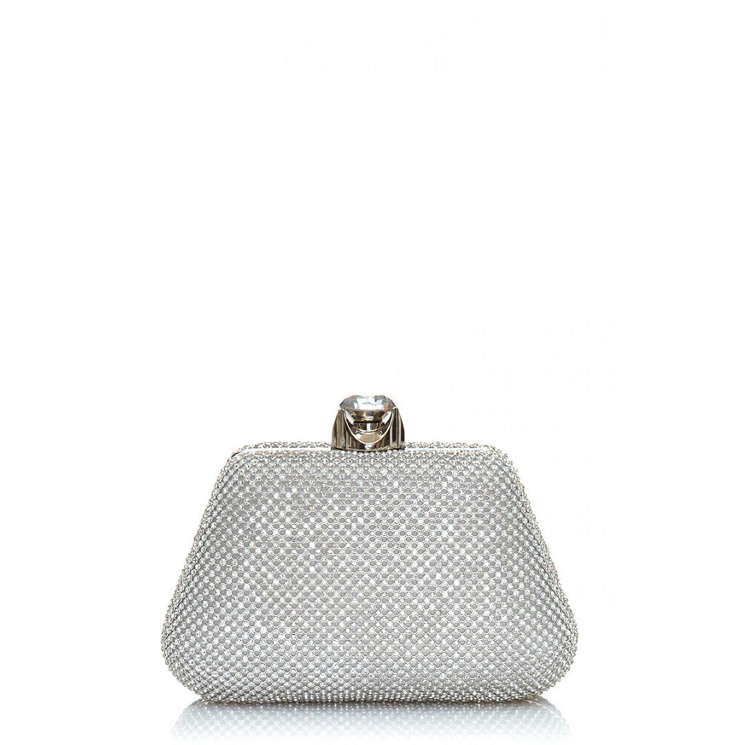 Silver Diamante Jewel Clip Clutch Bag