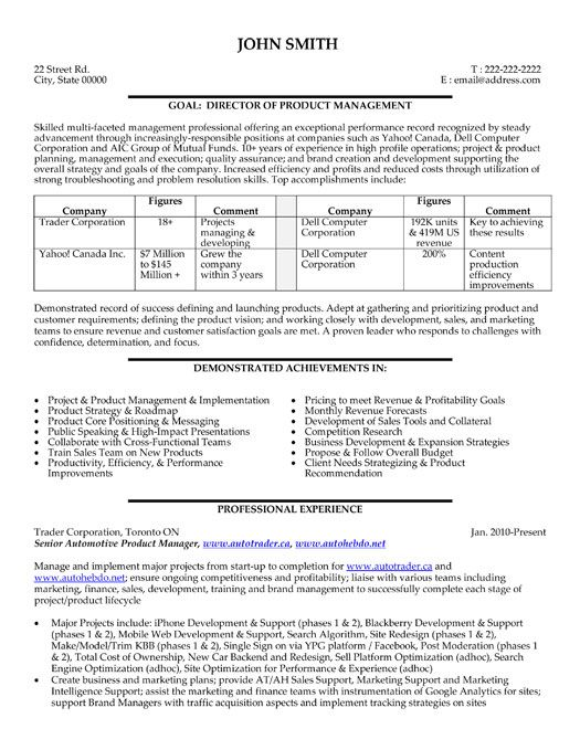 A resume template for a Director or Product Manager You can - product manager resume examples