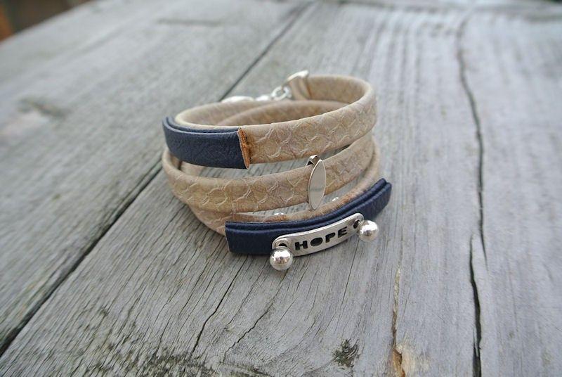Stoere wikkelarmband van leer € 13.95 wrap leather bracelet