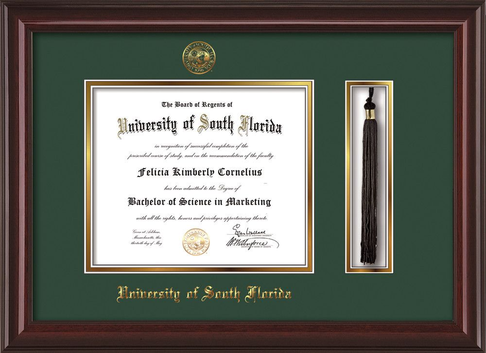 University of South Florida Diploma Frame - Mahogany Lacquer - w ...