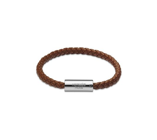 Goliath Hermes Leather Bracelet Size S Indian Brown Swift Calfskin Silver And Palladium Plated Hardware 6 7 Cirference