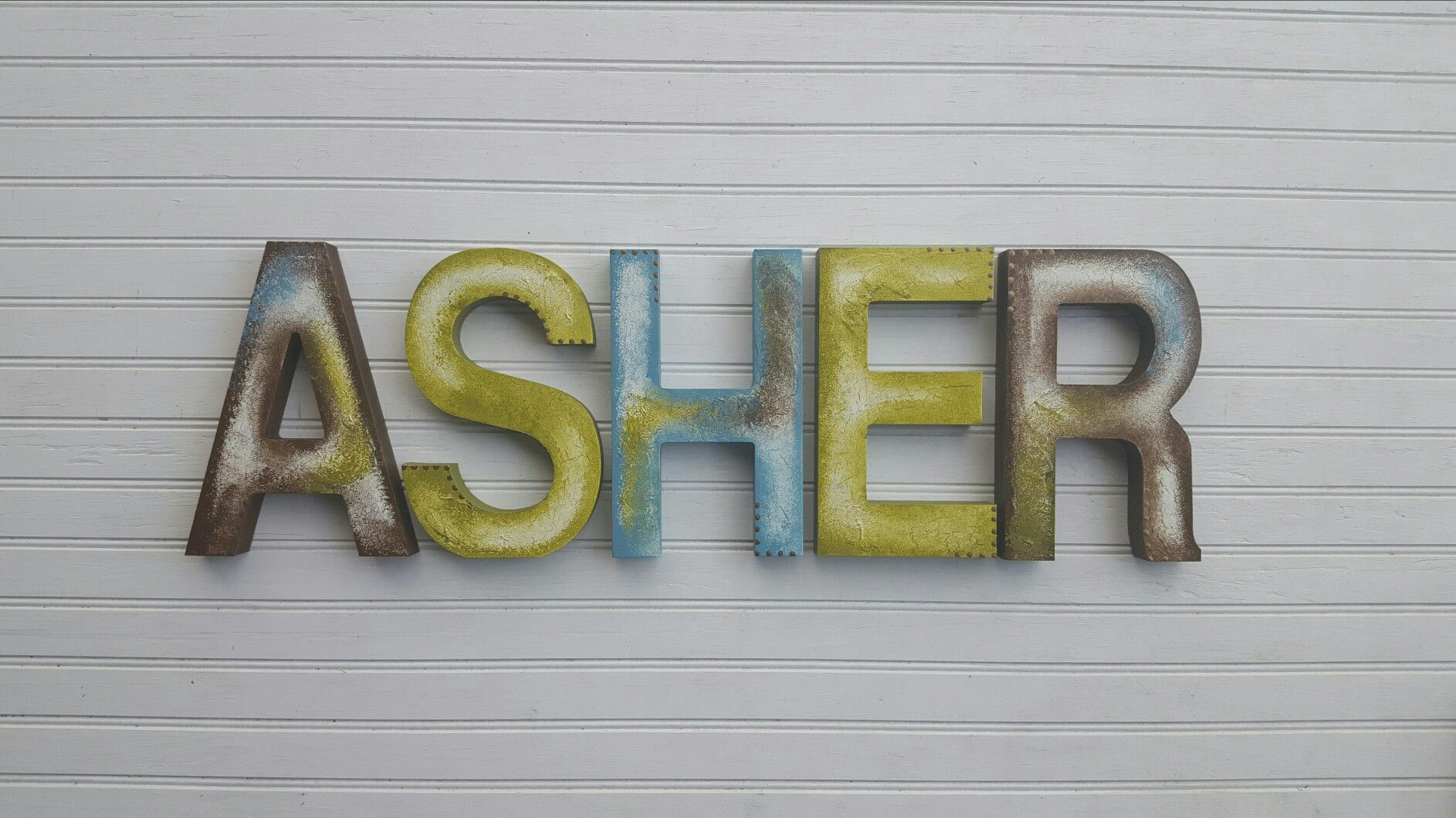 Name Letters For Asher In Rustic Block Font Bh Happymoosegardenart