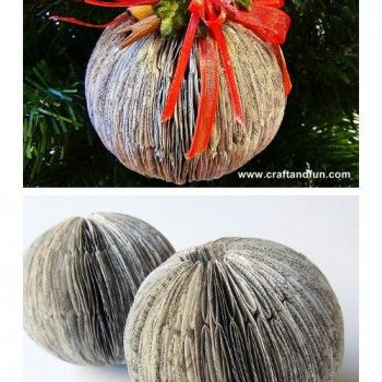 Recycled Book Crafts – DIY Christmas Balls