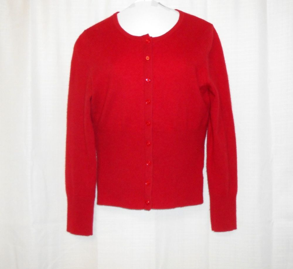 APT 9 100% CASHMERE Cardigan Sweater Women Sz M Medium Red Long ...