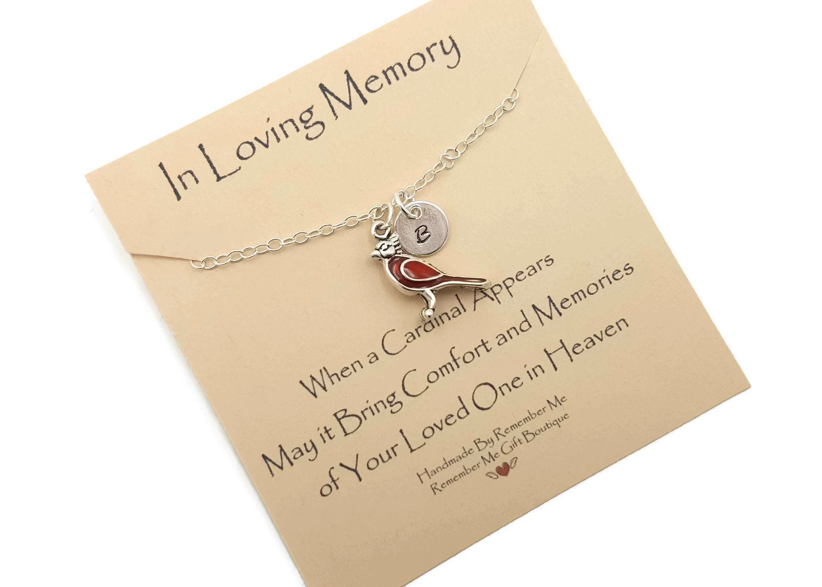 Cardinal memorial necklace cardinal gift for loss of loved