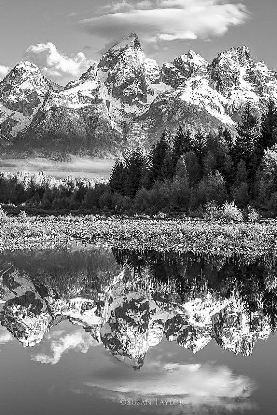 Large Black and White Photography, Grand Teton Canvas, National Park, Snake River Print, Mountain Light, Wild Wyoming, Canvas Gallery Wrap is part of Beautiful places - This morning reflection of the Grand Tetons in the Snake River can truly lift spirits of many  This secluded view point is one of the iconic spots in Grand Teton National Park and this fine art print would make a wonderful addition to a wall in your home or office  Great as a gift too!  Title Teton