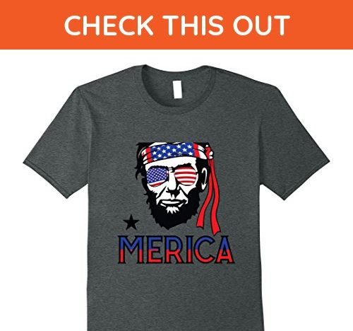 Mens Lincoln Star America Funny Independence Day Lincoln T-shirt Small Dark Heather - Holiday and seasonal shirts (*Amazon Partner-Link)