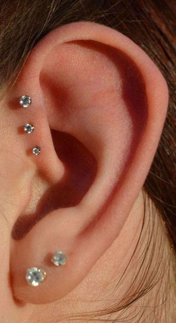 14 Cute and Beautiful Ear Piercing Ideas For Women #earpiercingideas
