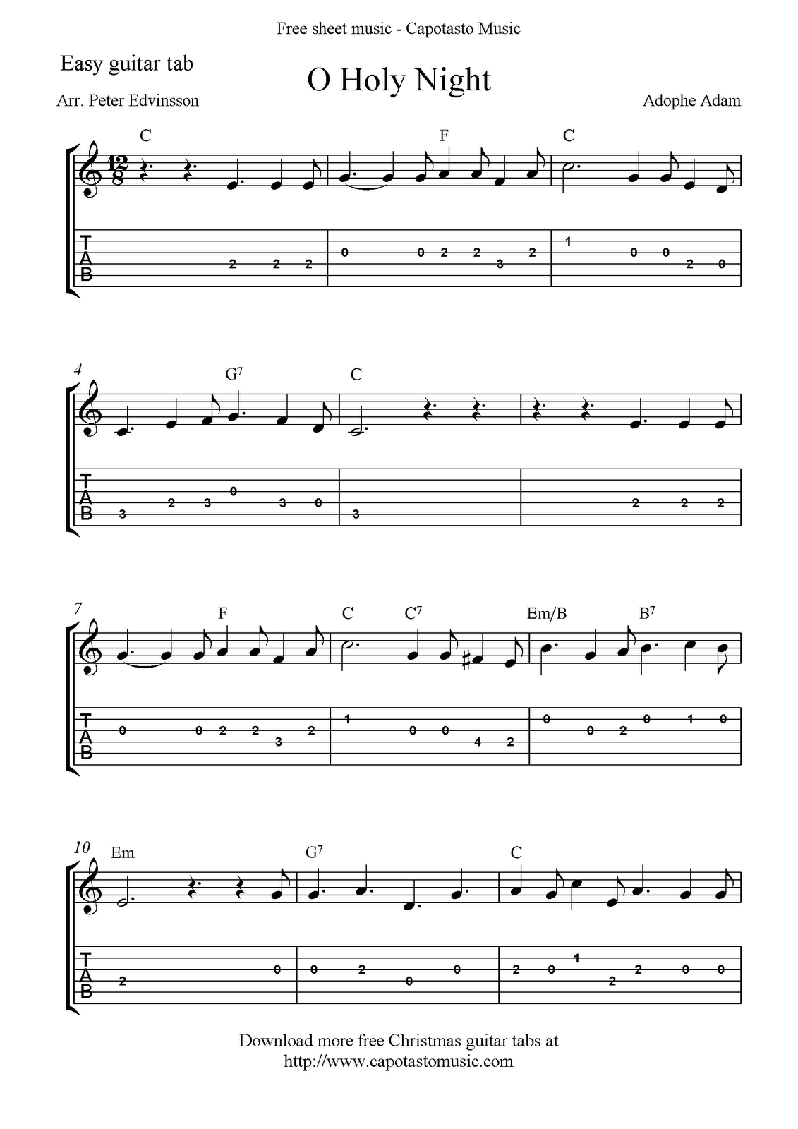 Free Printable Sheet Music O Holy Night Free Easy Christmas Guitar Sheet Music And Guitar Tabs Guitar Tabs Guitar Tabs Songs Guitar Tabs For Beginners