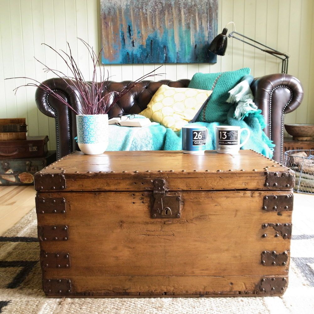 Antique victorian vintage rustic stripped pine plank chest trunk antique victorian vintage rustic stripped pine plank chest trunk coffee table tv geotapseo Choice Image