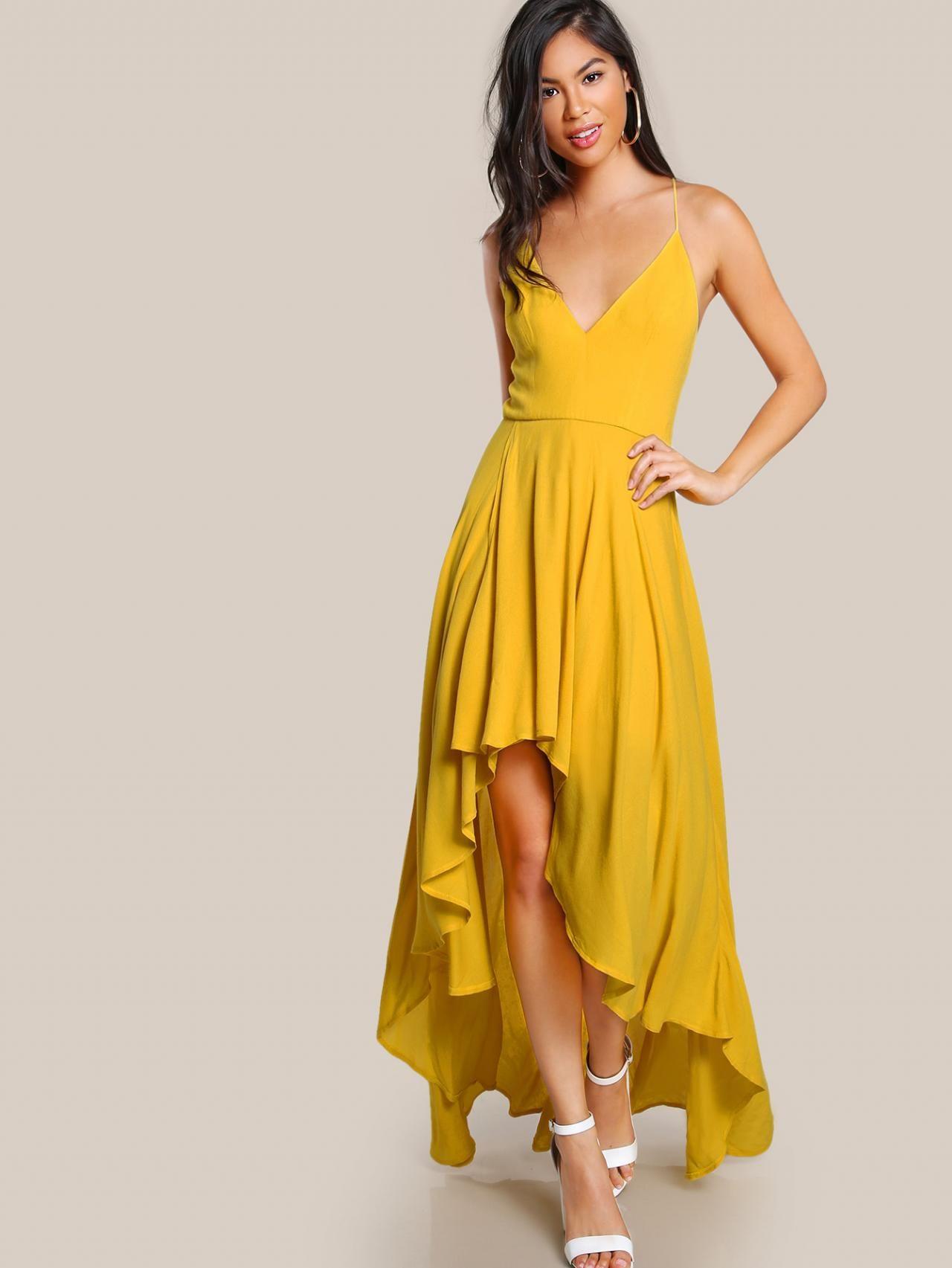 16d09f5568a Backless High Low Cami Dress Yellow Long Chiffon Prom Dress,Floor ...
