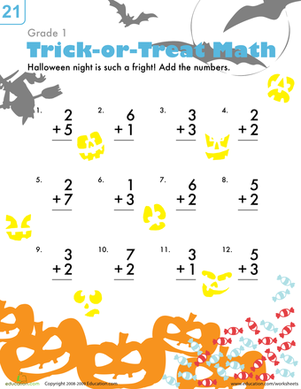 Boo Trick Or Treat Addition Worksheet Education Com First Grade Math Worksheets Addition Worksheets 1st Grade Activities