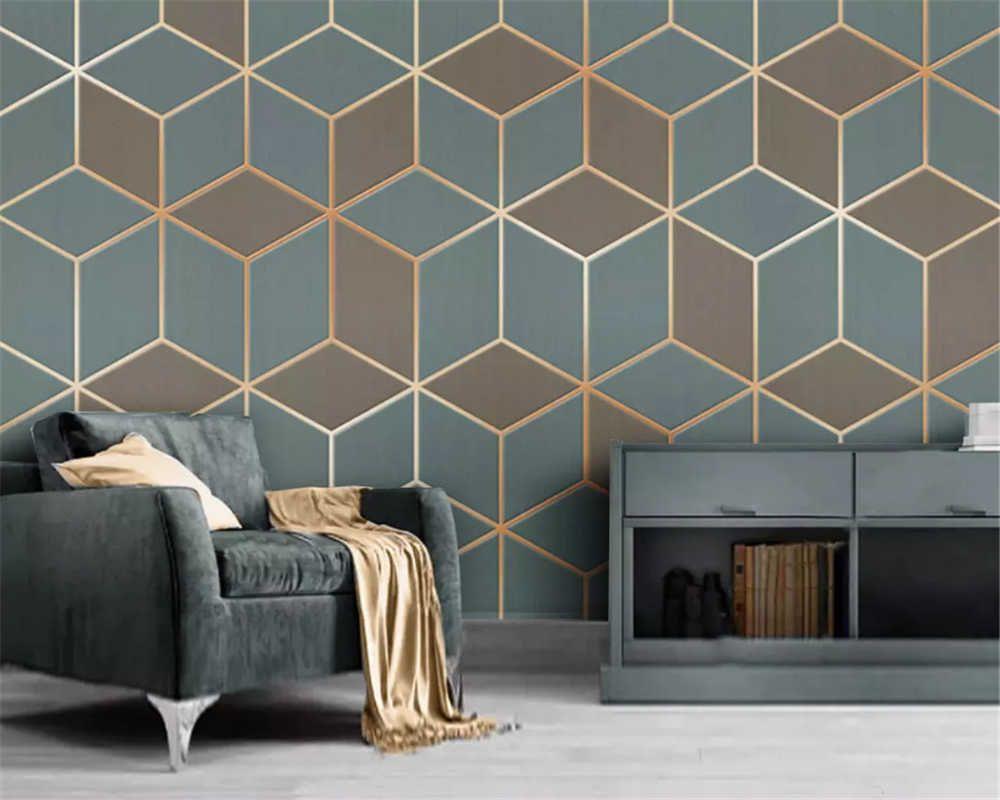 Beibehang Custom Fashion Wallpaper Geometric Gold Lines Mo