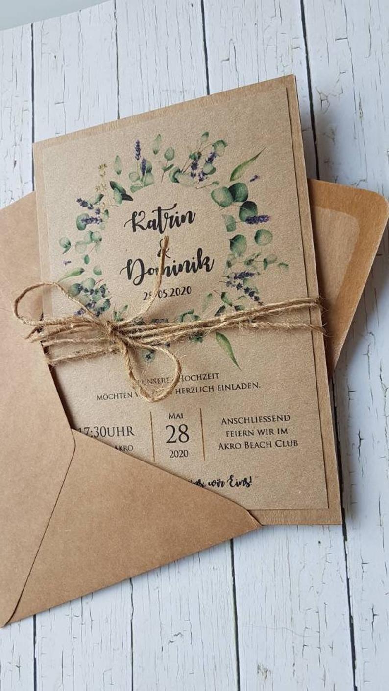 10x HOCHZEITSINVITATIONEN Lavendel-Eukalyptus-Eukalyptus-Kraftpapier. Hochzeitseinladungen Rustikal Kraft Boho, Vintage Böhmisch Rustikal   – Hochzeitsfeier