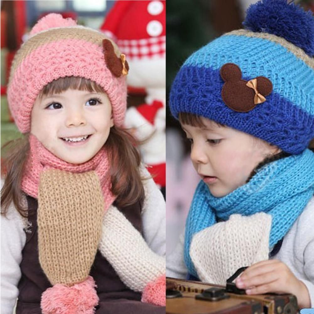 7b93956c04c Winter Hats For Girls Kids Fashion Baby Hat Warm Knitted Wool Scarf Cap Set  Warm Hooded