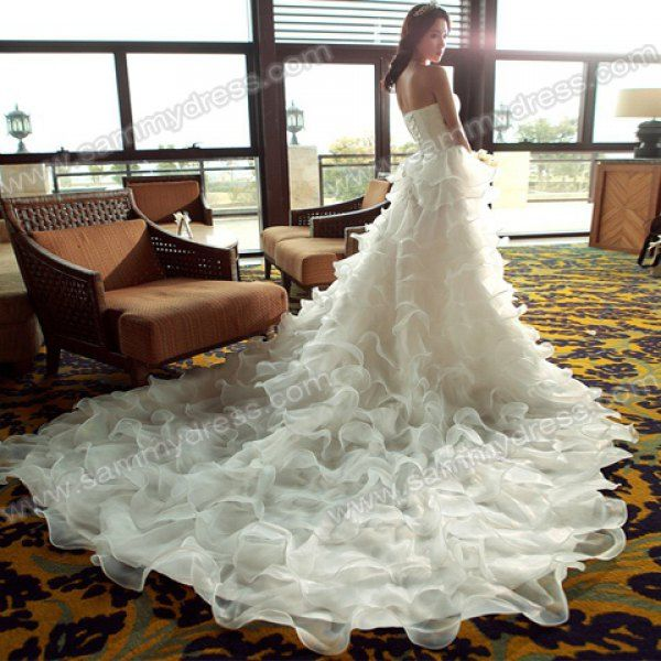 Sammydress.com: Photo Gallery - Sweet Strapless Beading Flouncing Multi-Layered Cathedral Train Wedding Dress For Bride