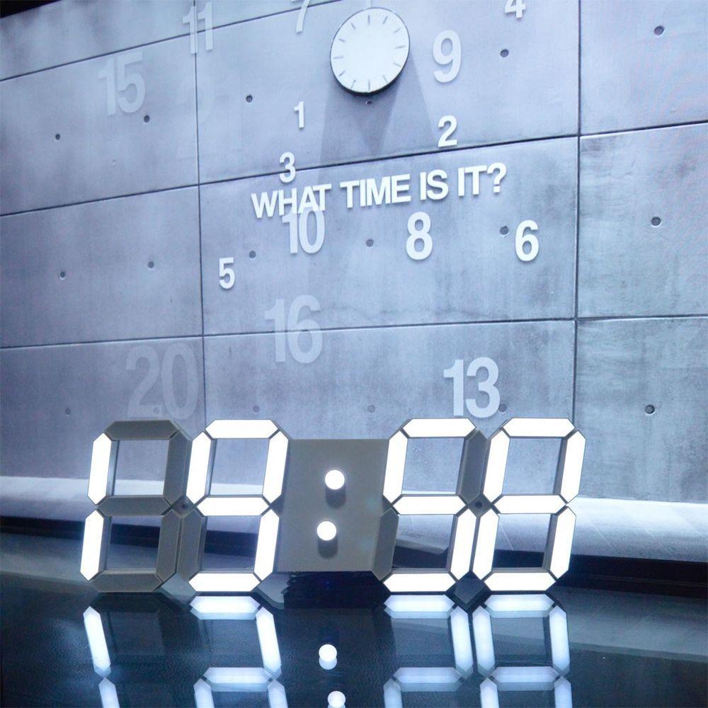 Large Modern Design Digital Led Skeleton Wall Clock Timer 2412 3D