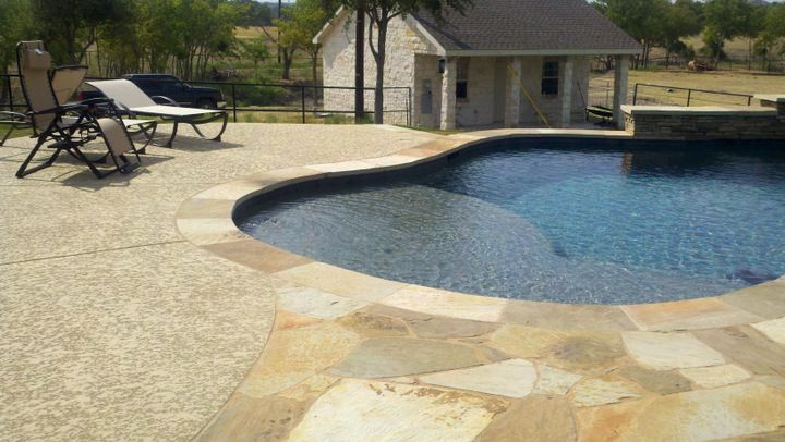 Why Not Opt For A Cool Deck Resurfacing Using A Spray Texture With Stamped Concrete Coping Call 714 563 4141 For More Pool De Cool Deck Pool Decks Pool Deck