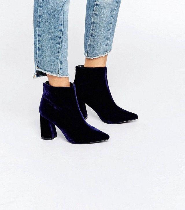 ASOS Daisy Street Velvet Point Heeled Ankle Boots