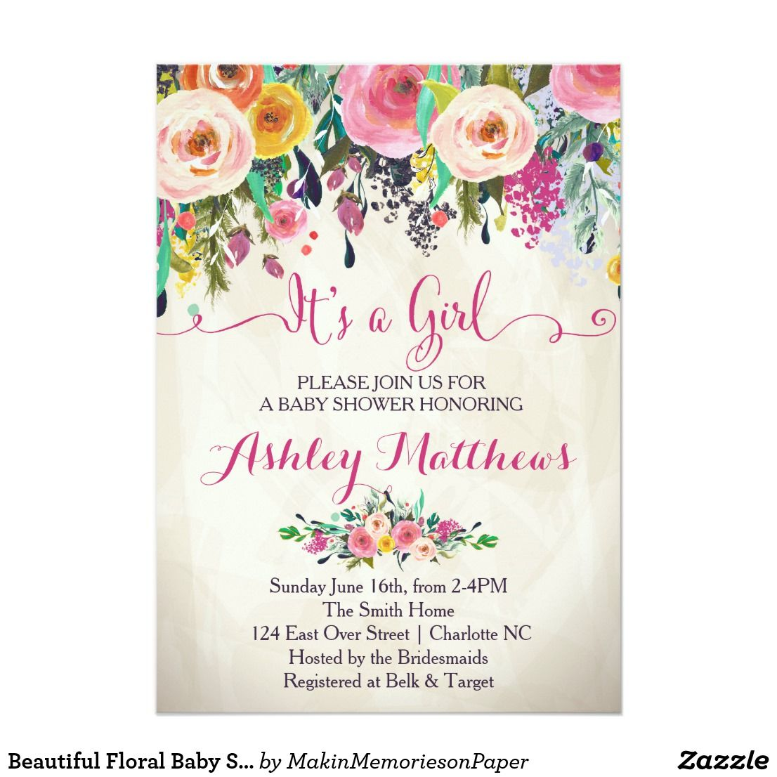 Beautiful Floral Baby Shower Invitation Baby Card Shower Invitations