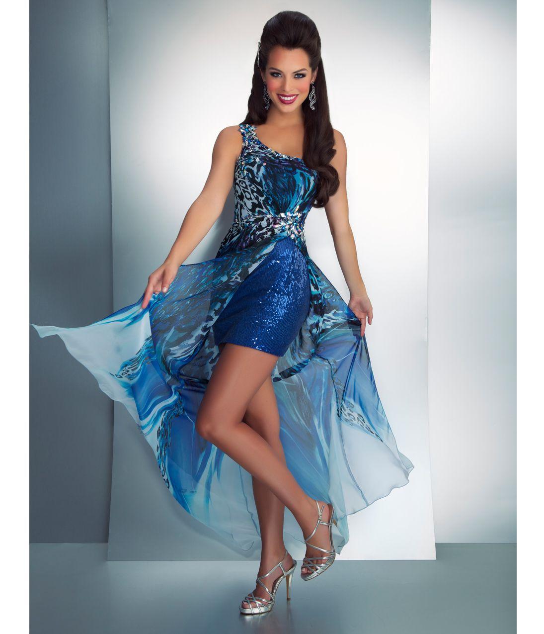 Mac Duggal Prom 2013- Blue Animal Print Dress With Short Blue ...