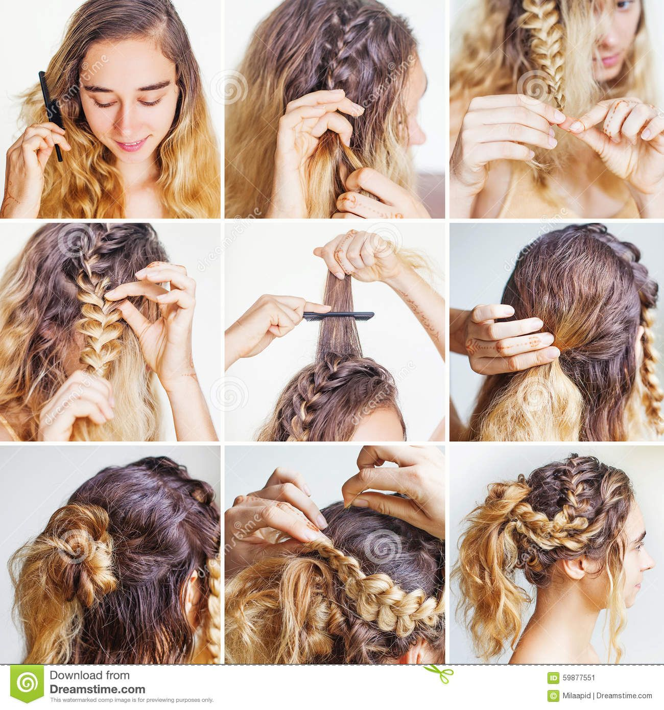 Braided Updo Tutorial For A Curly Hair Download From Over 54 Million High Quality Stock Photos Image Curly Hair Styles Curly Hair Beauty Braid Updo Tutorial