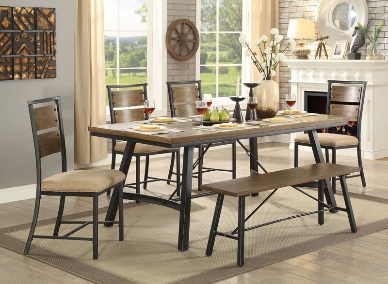 Cm3572t 7pc 7 Pc Marybeth Industrial Style Weathered Gray Finish