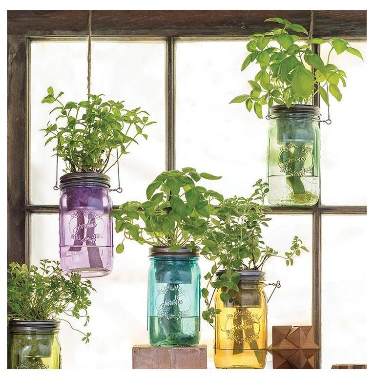 Self-Watering Mason Jar Indoor Herb Garden | Mason Jar Herb Garden Indoor | Herb Garden Conta... Self-Watering Mason Jar Indoor Herb Garden | Mason Jar Herb Garden Indoor | Herb Garden Container Ideas | Container Size For Herbs | Companion Planting Herbs In Pots.
